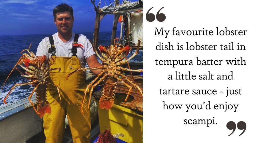 Fisherman catching Cornish Fishmonger lobster