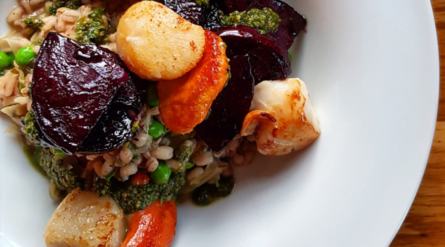 Scallops with Barley Risotto